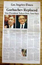 1991 newspaper SOVIET UNION COUP overthrows Russia President MIKHAIL GORBACHEV
