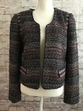 Ann Taylor Loft Navy Burgundy Tweed Open Front Lined Blazer Hi-Low NWT Size 10