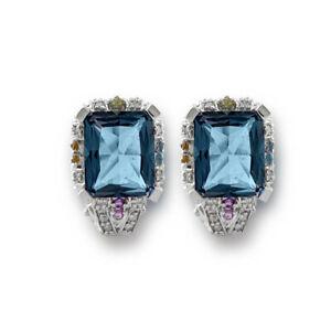 Genuine Blue Topaz Emerald Cut Gemstones & Diamonds Halo Earrings 14K Solid Gold