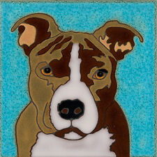 Ceramic Tile Handpainted Pit Bull Terrier Dog painting, hot plate, installation
