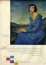 1948 DeBeers Miss Virginia Palfrey by Gerald Brockhurst  Lady in Blue PRINT AD