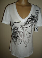 NEW HOT & SEXY FOX RACING WOMEN'S LUXE V-NECK TEE T-SHIRT WHITE XS X-SMALL