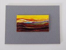 "SUN FILLED LANDSCAPE Miniature Palette Knife Oil Painting 1""x2"" Julia Garcia NEW"