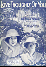 """KING OF THE CONGO Sheet Music """"Love Thoughts Of You"""" Jacqueline Logan"""