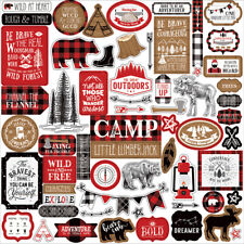 12x12 Sheet Echo Park Paper LITTLE LUMBERJACK Camp Scrapbook Element Stickers