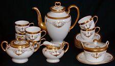 Pickard China Coffee Tea Set 19-Pc-Gold Swag Lattice Roses Fleur de Lis-1912/18