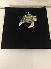 Turtle R11 Pewter Pendant on a  BLACK CORD  Necklace
