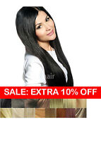 TressMatch 16 inch Remy Human Hair Clip in Extension Thick End Black Brown Blond