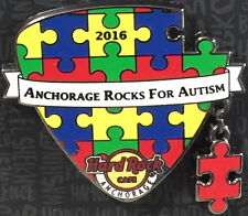 Hard Rock Cafe ANCHORAGE 2016 AUTISM Puzzle Guitar Pick with Dangler PIN on CARD