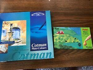 Vintage Winsor & Newton Cotman Watercolors & Pentel Water Colors