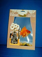 Flower Vase - collapsable reusable clear plastic with goldfish