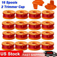 16 Pack Replace Spool String Trimmer Line For WORX String Trimmer Spools +2 Cap