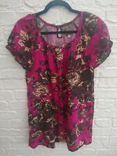 JOULES AUDREY Pink Floral Summer Dress Size 12 Flax Linen Mix Tunic Cap Sleeves