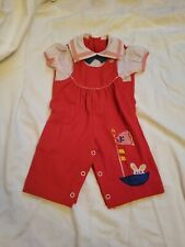 Vintage 80-90s Baby Girl Red One Piece Nautical Romper cute Bunny Applique 6m