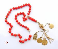 Antique Vintage 120ct Red Coral Prayer Beads solid 21K Gold / 36gr