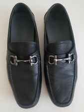 Salvatore Ferragamo Black Leather Driving Moccasins,  US  D 11.5