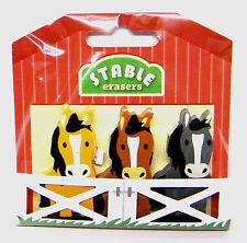 Novelty Erasers Pony Design 3pc Set Kids Stationery Rubbers New Stocking Filler