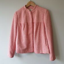 Hush Womens Size 6 Pink Tweed Jacket Blazer Coat Smart Career Casual Cotton Work
