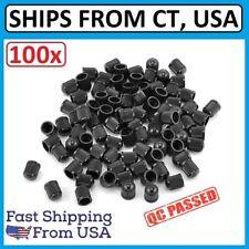 100 BLACK PLASTIC TIRE VALVE STEM CAPS WITH INNER SEAL GASKET