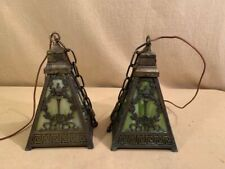 Bradley and Hubbard Hall Hanging Lamps Pair