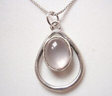 Rose Quartz Oval in Hoop 925 Sterling Silver Pendant Corona Sun Jewelry