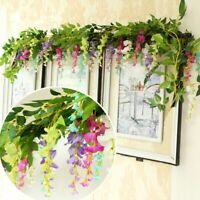 Wisteria Flowers Vine Hanging Garland Leaf String Silk Fake Ivy Home Decorations