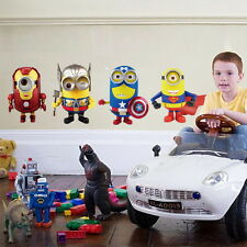 Avengers Minions Superman Captain American Iron Man Wall Stickers Boy Decals