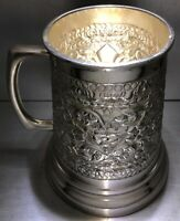 Beautiful Sterling Silver 925 Beer Mug Hand Chased Floral Repoussé  Luxury Gift