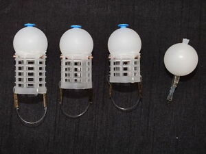 SET OF 4 DEPTH CHARGE SLOW SINKING FEEDERS & BOMB,MATCH,COMMERCIAL,FISHING
