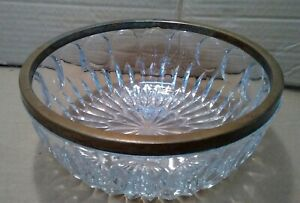 """Vintage Glass Crystal Bowl With Silver Trim around Top Edge 8.5"""" Diameter/Wide!"""