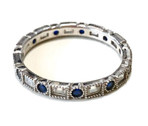 HSN Sterling Silver 925 SW Sapphire & CZ Band Ring Size 9
