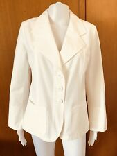 agnes b-Stretch White Cotton Blazer-Size 42