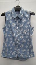 Candy Courture Blue Denim Sleeveless  Top with White Flowers age 15 years
