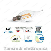 Lampadina led V-TAC 4W = 40W E14 bianco caldo 2700K VT-1995 a fiamma filamento