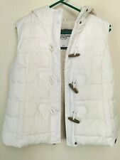 Abercrombie & Fitch Hooded Gilet Vest Size L Women White Padded Puffer Faux Fur