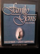 Family Gems Collection December Light Sapphire Birthstone Charm NIP