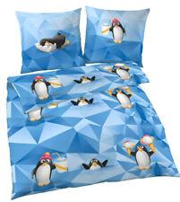 Bettwäsche 135x200 cm Pinguin Kinder Pinguine blau 47956 Biber