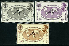 Ethiopia 383-385, MNH. WHO drive to eradicate Malaria. World map, 1962