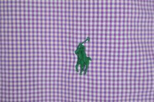 Ralph Lauren Mens sz Large Purple Micro Check Custom Fit Button up Shirt