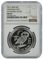2017 Niue 1oz Silver Owl Of Athena Coin NGC MS69 - Brown Label