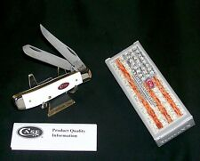 "Case XX 6207 White Knife Mini Trapper USA 3.5"" Jigged Delrin Handles W/Packaging"