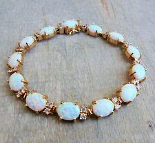 VINTAGE 70er Jahre Armband mit Opale und Topase aus 585/14 K Gold (gestempelt)