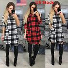 US Womens Check Shirt Mini Dress Ladies Long Sleeve Plaid Romper Dress Size S-XL