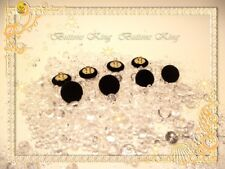 8 pcs. Velvet Fabric Covered Buttons Black. Metal Gold loop shank. size 15mm.