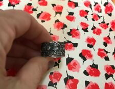 Vintage Fine Silver Pure 999 Handwrought Chinese Export Ring Wide Band