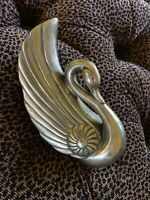 Mid Century Vintage Brass Swan Wall Pocket With Patina Hg14