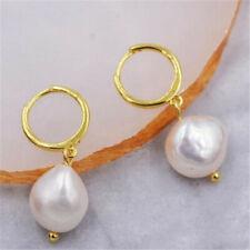 12-13mm White Baroque Pearl Earrings 18K Gold Ear Drop party wedding dangle