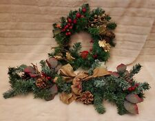 """Handmade 15"""" Christmas Wreath For The Holidays Holly Pine Cones Garland"""