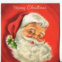 VINTAGE CHRISTMAS SANTA CLAUS SAINT NICK SMILING HOLLY HALLMARK GREETING CARD