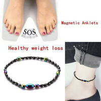 Magnetic Beads Hematite Stone Health Care Weight Loss Anklet Bracelet JewelryQP
